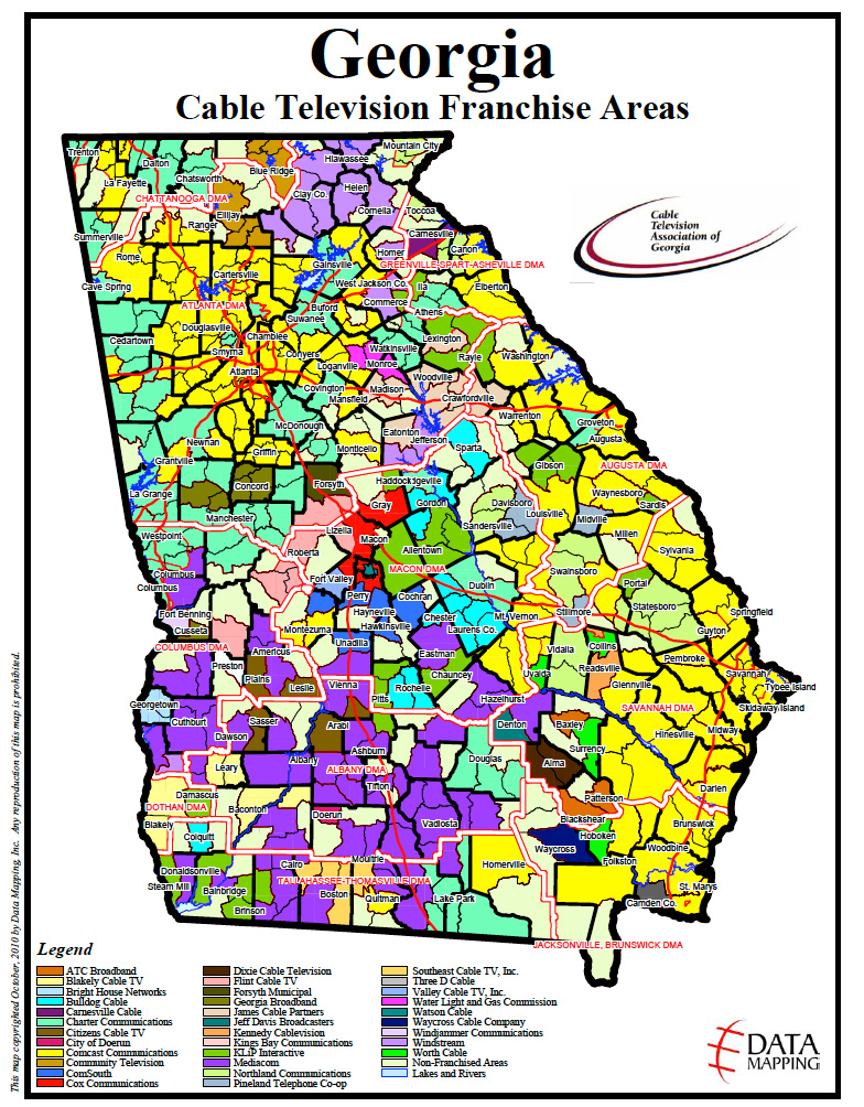 GCA Cable Service Area Map on